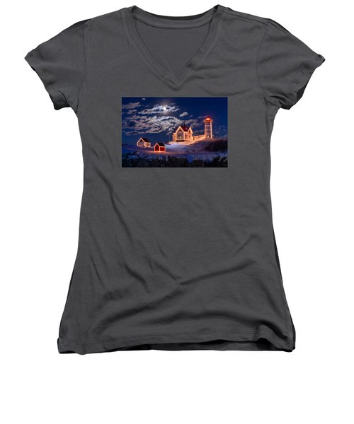 Moon Over Nubble Women's V-Neck