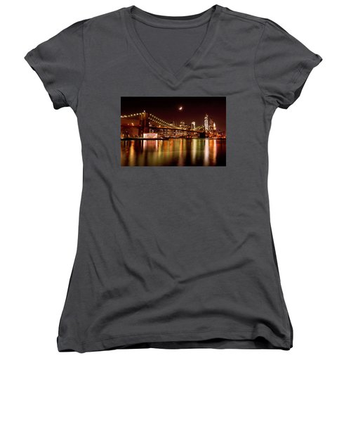 Moon Over The Brooklyn Bridge Women's V-Neck T-Shirt (Junior Cut) by Mitchell R Grosky