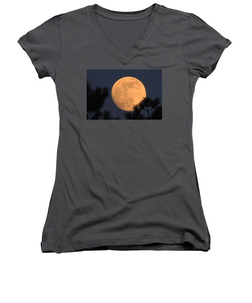 Women's V-Neck T-Shirt (Junior Cut) featuring the photograph Moon Pines by Charlotte Schafer