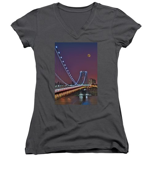 Moon Rise Over The George Washington Bridge Women's V-Neck