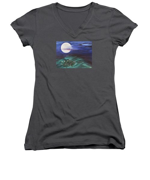 Women's V-Neck T-Shirt (Junior Cut) featuring the painting Moon Showers by Cheryl Bailey