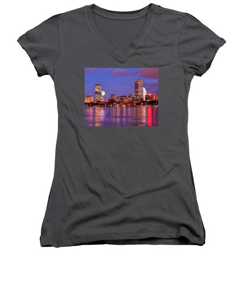 Women's V-Neck T-Shirt (Junior Cut) featuring the photograph Moonlit Boston On The Charles by Mitchell R Grosky