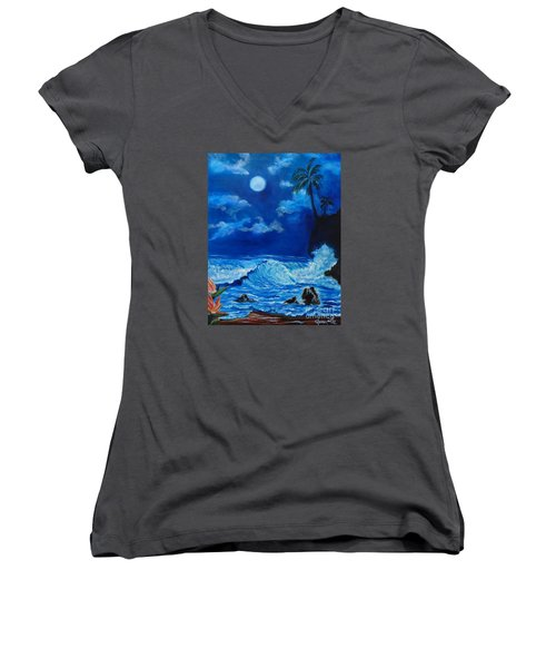 Moonlit Hawaiian Night Women's V-Neck T-Shirt (Junior Cut) by Jenny Lee