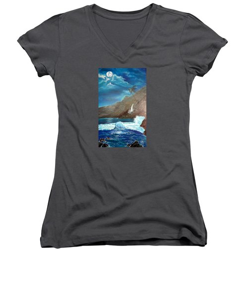 Women's V-Neck T-Shirt (Junior Cut) featuring the painting Moonlit Wave by Jenny Lee