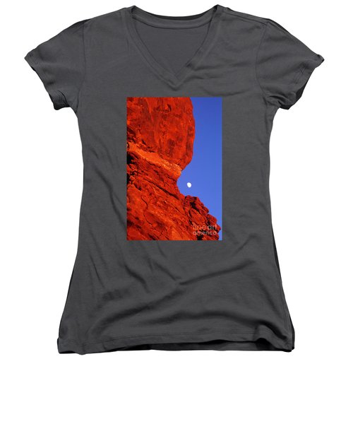 Women's V-Neck T-Shirt (Junior Cut) featuring the photograph Moonrise Balanced Rock Arches National Park Utah by Dave Welling