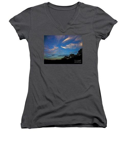 Moonrise Hill Women's V-Neck T-Shirt (Junior Cut) by Gem S Visionary
