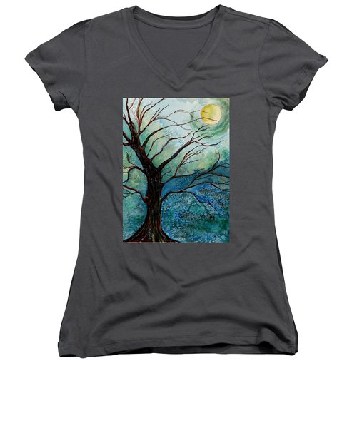 Moonrise In The Wild Night Women's V-Neck (Athletic Fit)
