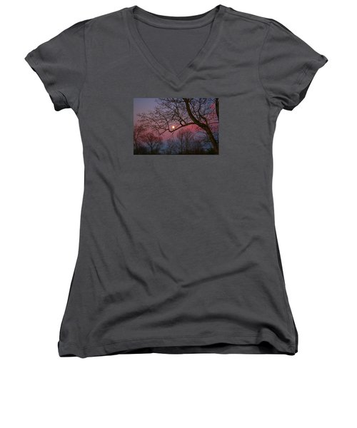 Moonrise Women's V-Neck T-Shirt (Junior Cut) by Kathryn Meyer