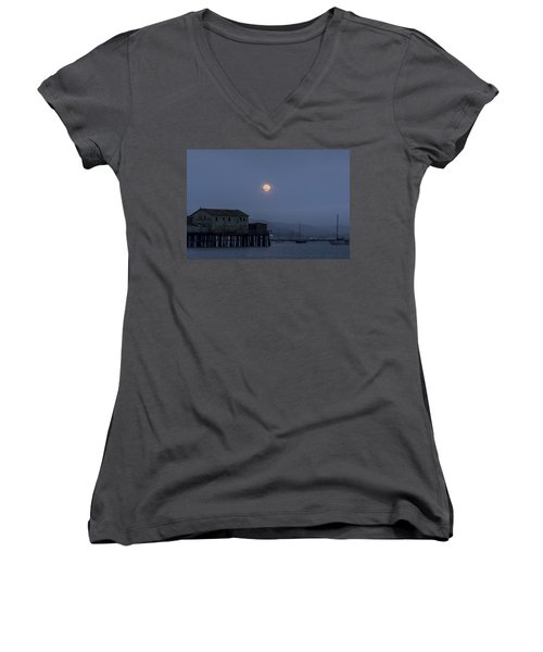 Moonrise Over The Harbor Women's V-Neck T-Shirt