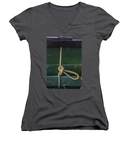 Women's V-Neck T-Shirt (Junior Cut) featuring the photograph Mooring Hitch by Marty Saccone