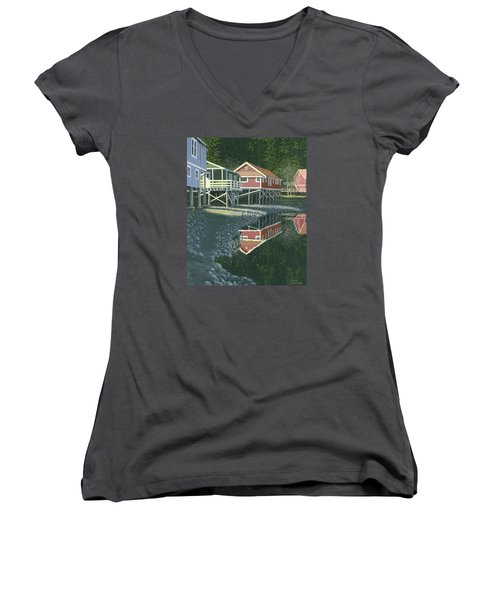 Women's V-Neck T-Shirt (Junior Cut) featuring the painting Morning At Telegraph Cove by Gary Giacomelli