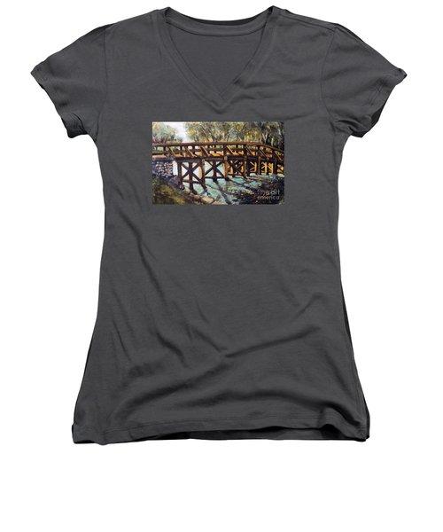 Morning At The Old North Bridge Women's V-Neck T-Shirt (Junior Cut) by Rita Brown