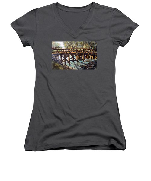 Morning At The Old North Bridge Women's V-Neck (Athletic Fit)