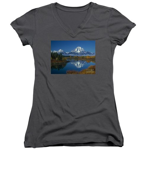 Morning Cloud Layer Oxbow Bend In Fall Grand Tetons National Park Wyoming Women's V-Neck (Athletic Fit)