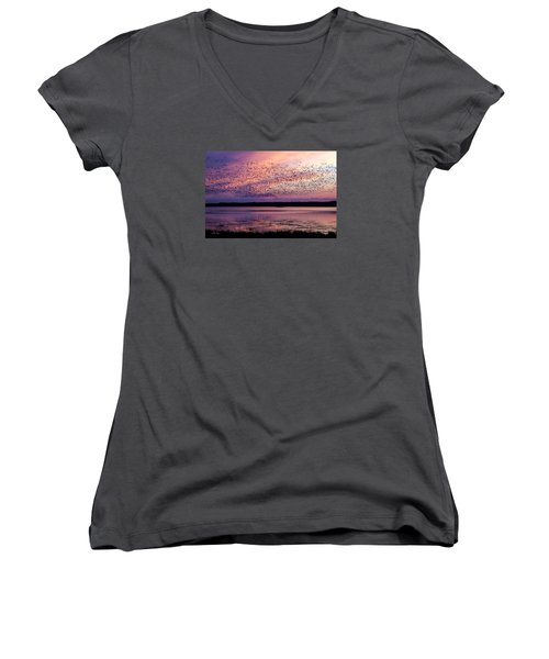 Morning Commute Women's V-Neck T-Shirt (Junior Cut) by Joan Davis