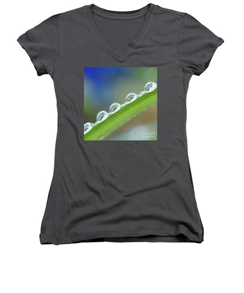 Women's V-Neck featuring the photograph Morning Dew Drops by Heiko Koehrer-Wagner