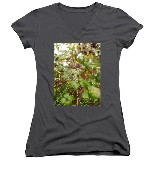 Women's V-Neck T-Shirt (Junior Cut) featuring the photograph Morning Dew by Vicki Spindler