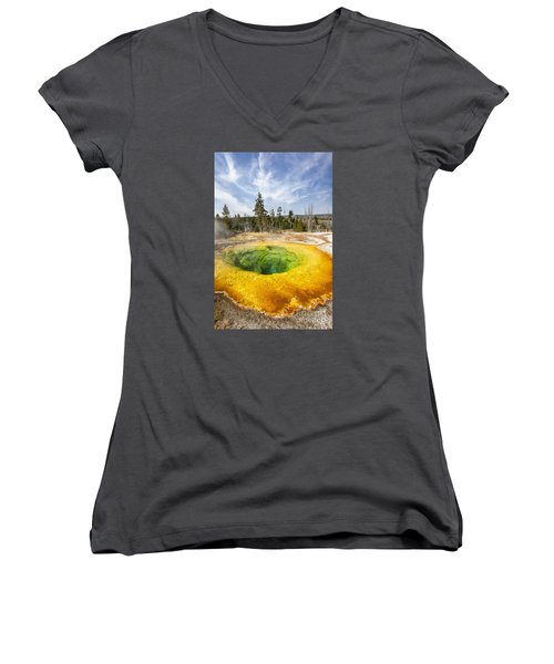 Morning Glory Pool In Yellowstone National Park Women's V-Neck T-Shirt