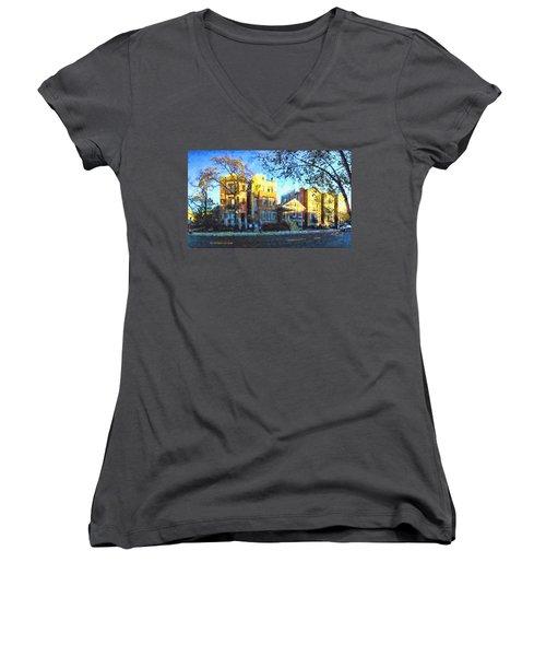 Morning In Bucktown Women's V-Neck T-Shirt (Junior Cut) by Dave Luebbert