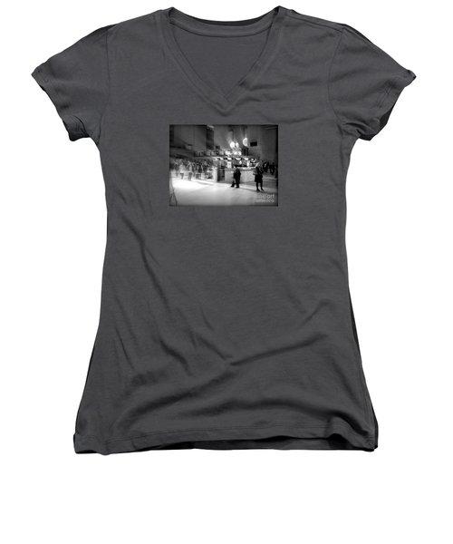 Morning In Grand Central Women's V-Neck T-Shirt (Junior Cut) by Miriam Danar