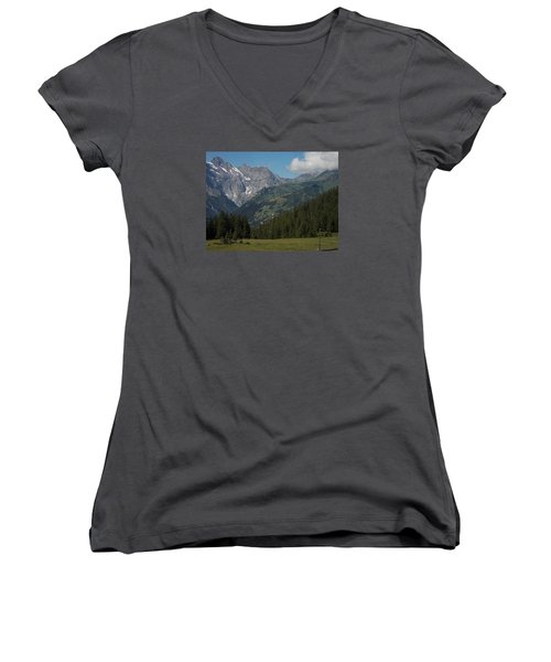 Morning In The Alps Women's V-Neck (Athletic Fit)