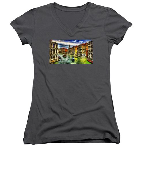 Women's V-Neck T-Shirt (Junior Cut) featuring the painting Beautiful Morning In Venice, Italy by Georgi Dimitrov