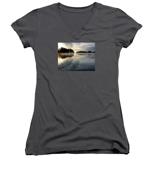 Morning Lake Reflection Women's V-Neck T-Shirt (Junior Cut) by Peter Mooyman