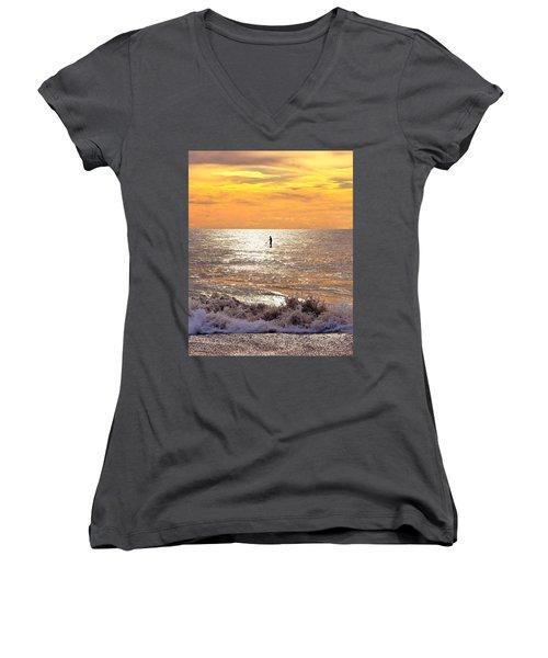 Sunrise Solitude Women's V-Neck T-Shirt