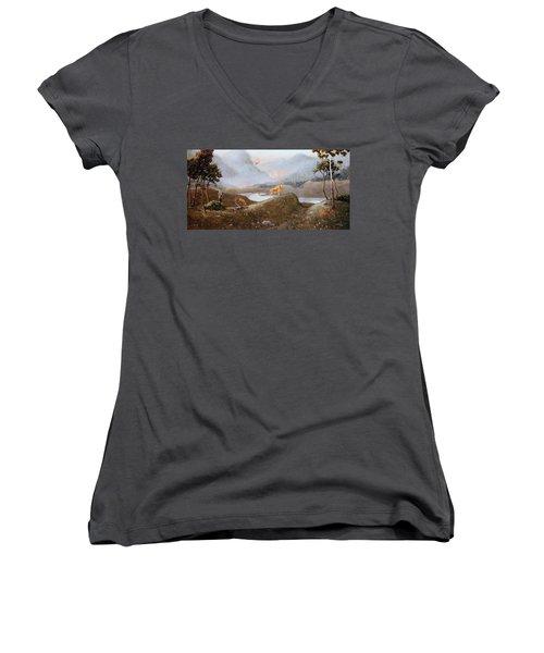 Morning Mist Women's V-Neck T-Shirt (Junior Cut) by Duane R Probus