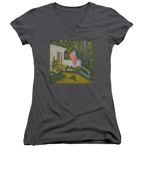 Morning Sun On Old Glory Women's V-Neck T-Shirt (Junior Cut)