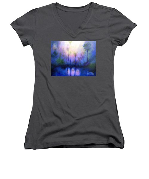 Women's V-Neck T-Shirt (Junior Cut) featuring the painting Morning Symphony by Alison Caltrider