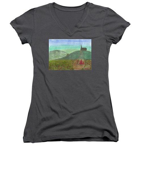 Morning Worship Women's V-Neck T-Shirt (Junior Cut) by Tracey Williams