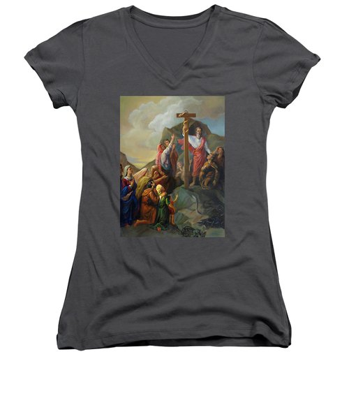 Women's V-Neck T-Shirt (Junior Cut) featuring the painting Moses And The Brazen Serpent - Biblical Stories by Svitozar Nenyuk