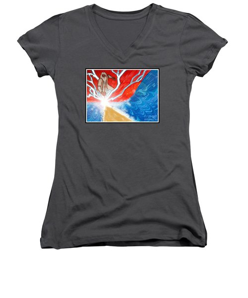 Women's V-Neck T-Shirt (Junior Cut) featuring the painting Moses by Justin Moore
