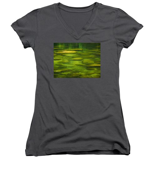 Women's V-Neck T-Shirt (Junior Cut) featuring the photograph Mossman by Evelyn Tambour