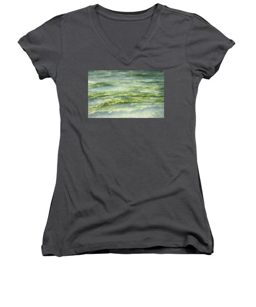 Women's V-Neck T-Shirt (Junior Cut) featuring the photograph Mossy Tranquility by Melanie Lankford Photography
