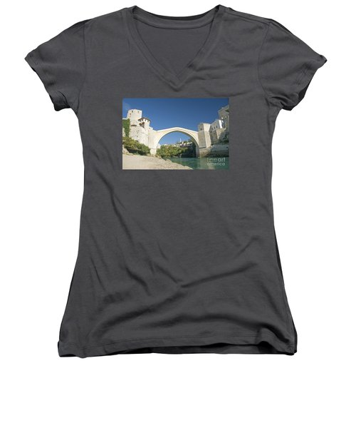 Mostar Bridge In Bosnia Women's V-Neck (Athletic Fit)