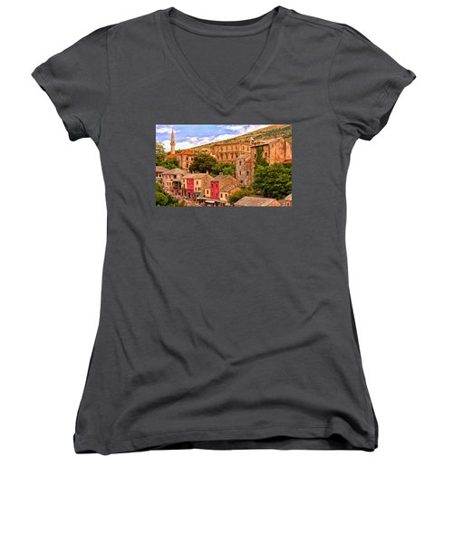 Women's V-Neck T-Shirt (Junior Cut) featuring the painting Mostar by Michael Pickett