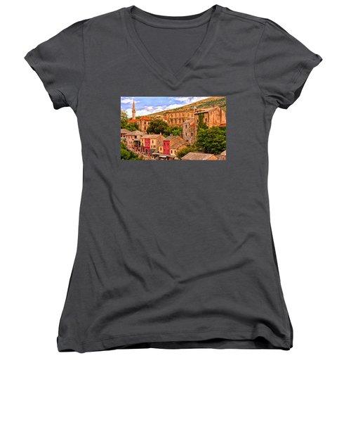 Mostar Women's V-Neck T-Shirt (Junior Cut) by Michael Pickett