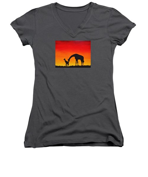 Women's V-Neck T-Shirt (Junior Cut) featuring the painting Mother Africa 2 by Michael Cross