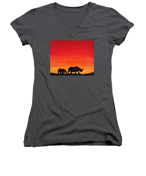 Women's V-Neck T-Shirt (Junior Cut) featuring the painting Mother Africa 5 by Michael Cross