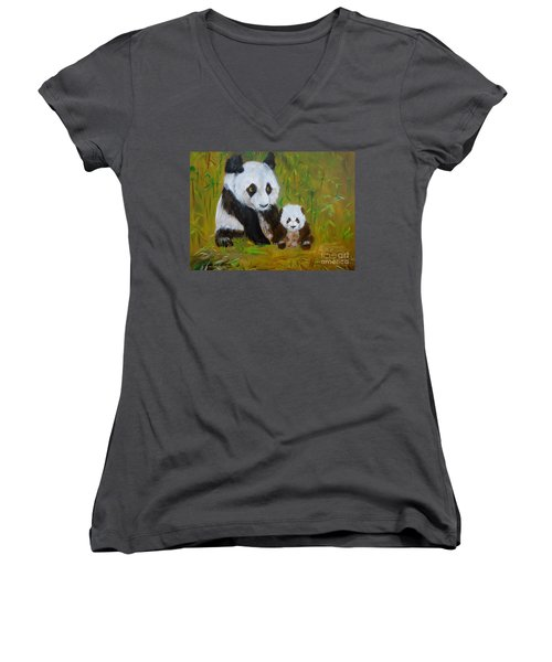 Women's V-Neck T-Shirt (Junior Cut) featuring the painting Mother And Baby Panda by Jenny Lee