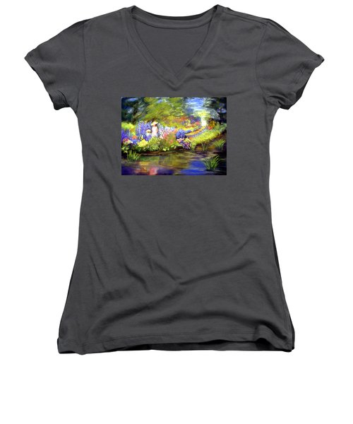 Women's V-Neck T-Shirt (Junior Cut) featuring the painting Mother And Daughter by Gail Kirtz