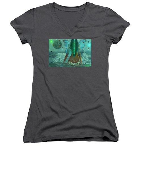 Women's V-Neck T-Shirt (Junior Cut) featuring the digital art Mother Nature by Michael Rucker