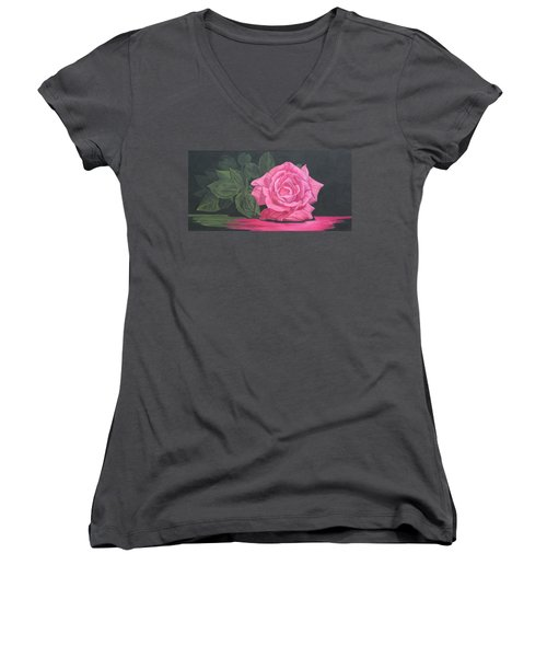Women's V-Neck T-Shirt (Junior Cut) featuring the painting Mothers Day Rose by Wendy Shoults