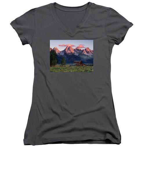 Moulton Barn Women's V-Neck T-Shirt (Junior Cut) by Leland D Howard