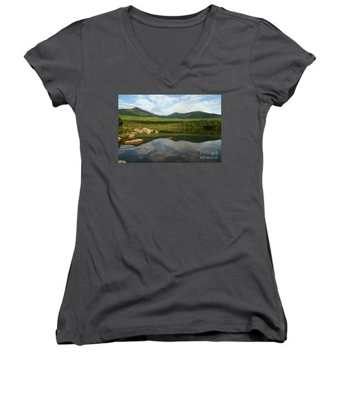 Women's V-Neck T-Shirt (Junior Cut) featuring the photograph Mount Katahdin by Jeannette Hunt