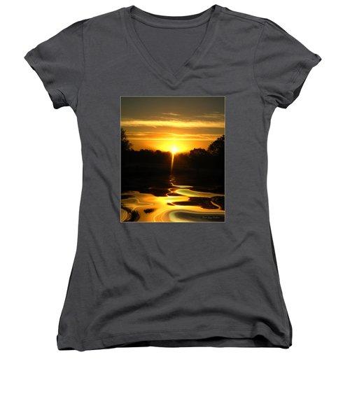 Mount Lassen Sunrise Gold Women's V-Neck T-Shirt