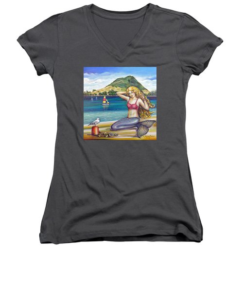 Mount Maunganui Beach Mermaid 160313 Women's V-Neck