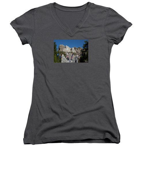 Mount Rushmore Avenue Of Flags Women's V-Neck (Athletic Fit)
